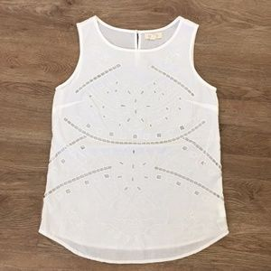 Anthropologie Adiva White Eyelet Embroidery Tank